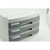 得力8833文件柜带锁桌面文件柜(浅灰)(只)