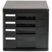 得力9772四层硬塑文件柜桌面文件柜(黑)(只)