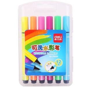 得力70656粗三角杆水彩笔(混)(12支/盒)
