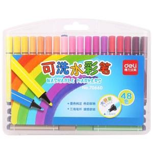 得力70660粗三角杆水彩笔(混)(48支/盒)