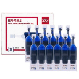 得力S640记号笔墨水(蓝)(12支/盒)(单位:盒)