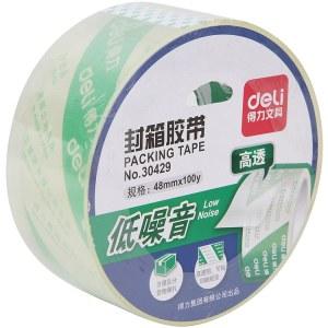 得力 30429 水晶超透低噪音胶带封箱胶带 1卷/48 (单位:卷) 透明